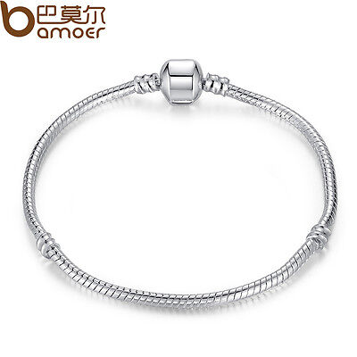 New Snake Chain Silver Bracelet Fit Bracelet&Bangle European Charm Bead Pulseras