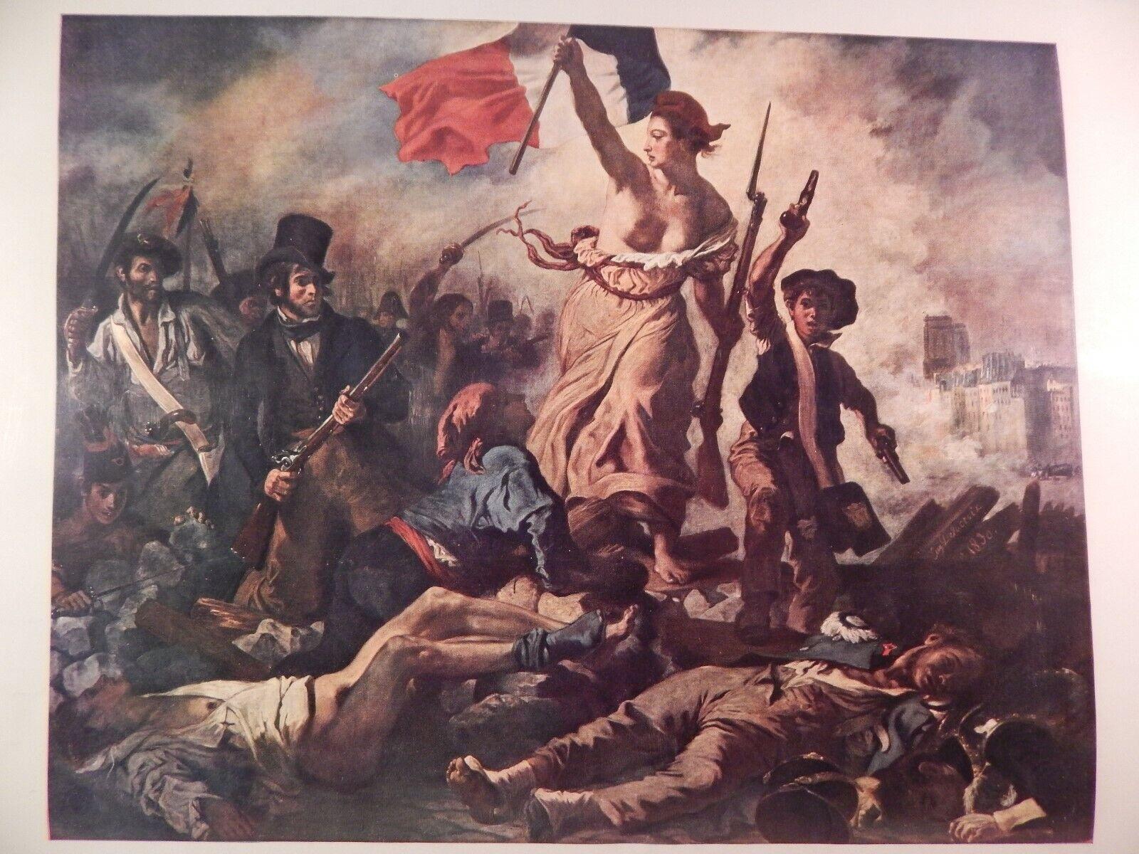 Vintage Print Liberty Leading The People Delacroix Lithograph Ebay