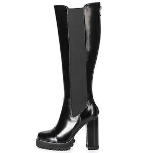 Ellie Tailor Plateau High Heel Knie Stiefel Knee Boots Schwarz 42 43 44 45 46