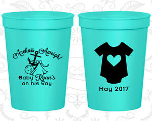 Baby Shower Plastic Cups Cup Favors (90083) Anchors Aweigh, Anchors Away, Anchor