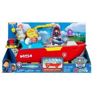 Le jouet de jeu de bateau de patrouilleur de mer de patte de patrouille allume le son véhicule et la figure d'enfants
