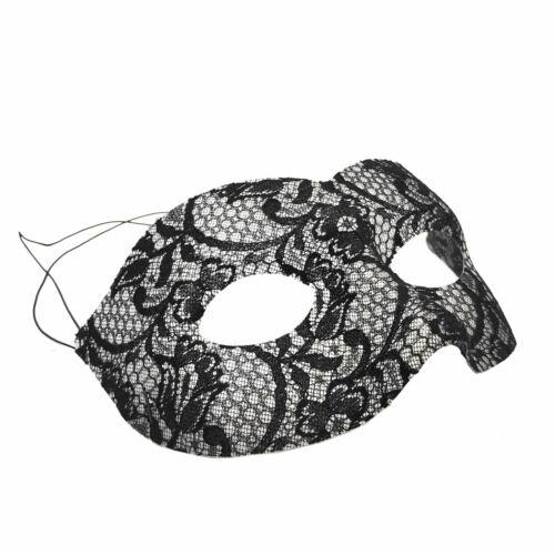 Womens Fancy Dress Mystery Masquerade Black Lace Detailed Eye Mask Princess Ball
