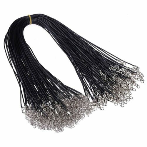 Lot 1.5mm Black Waxed Cord Necklace Clasps and Extension Chains Made Ships USA!