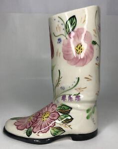 Vintage-Ceramic-Boot-Planter-Vase-Cream-Cowboy-Girl-Flower-Western-Country-Gift