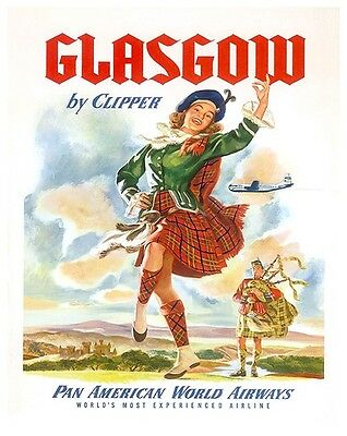 24x36 Classic Vintage Style Travel Poster 1920s Scotland by S.M.T