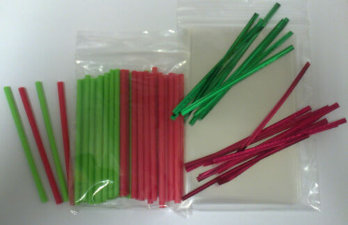 """50 x 89mm 3.5/"""" RED /& GREEN CHRISTMAS CAKE POP LOLLIPOP KIT WITH BAGS /& TWIST TIE"""