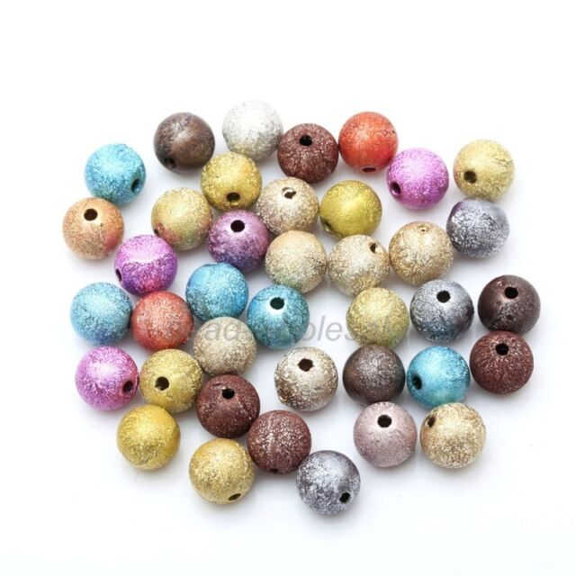 200-1000pcs Wholesale Frosted Stardust Ball Spacer Beads For Jewelry 4/6/8/10mm
