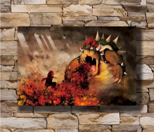 Hot Super Mario vs Bowser Koopa New Art Poster 40 12x18 24x36 T-1382