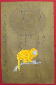 Hand-Painted-Old-Stamp-Paper-Wild-Monkey-Finest-Detailed-Miniature-India-Art