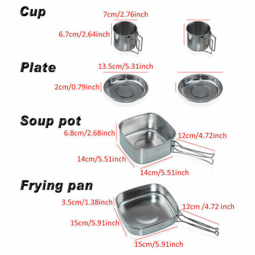Portable Camping Cook Cooking Cookware Tableware Picnic Pots Pans Kettle Set