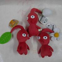 Pikmin 6.5  Red Flower/bud/leaf Stuffed Plush Doll Animal Set Of 3