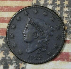 1829 Coronet Head Large Cent. Copper Collector Coin FREE SHIPPING