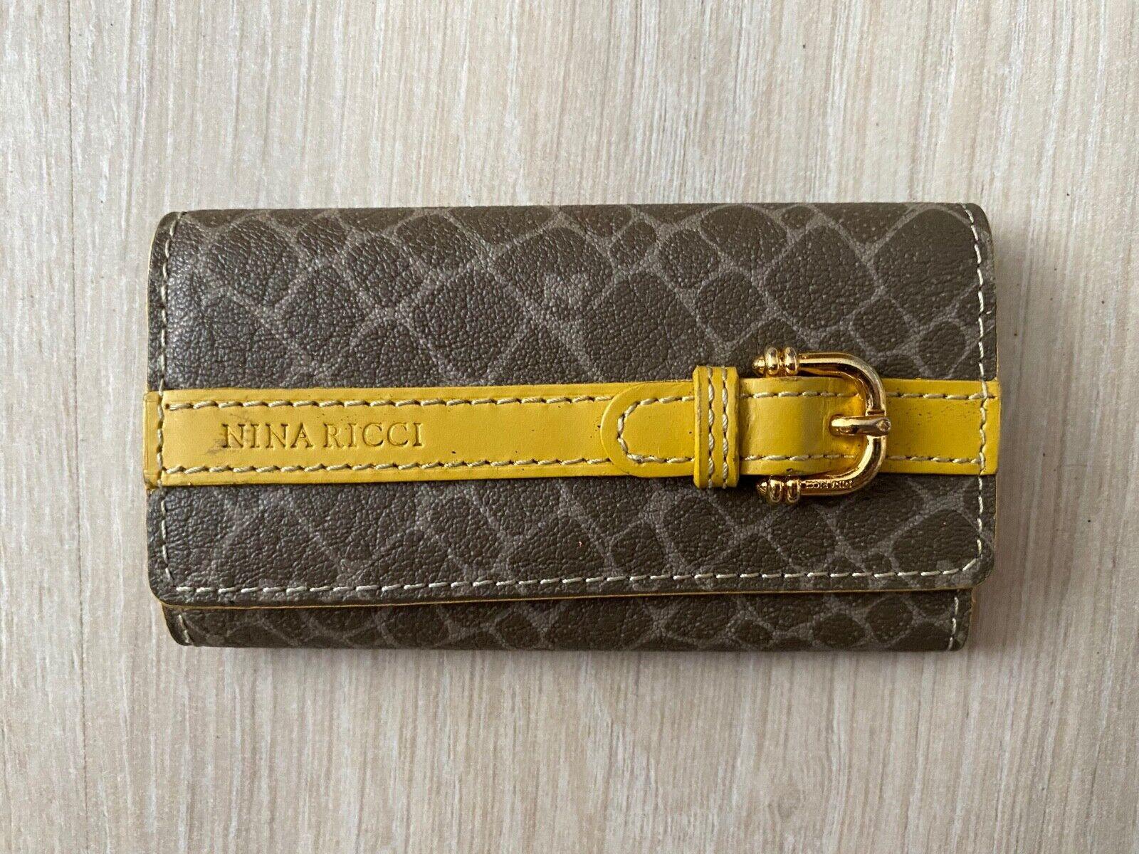 Nina Ricci 4 Key Holder Leather Vintage Snake Brown Yellow Wallet Case