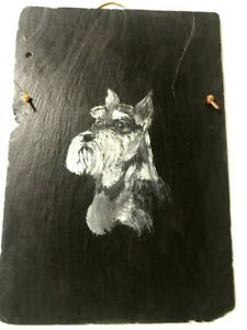 Hand-Painted-Schnauzer-Dog-Portrait-Oils-On-Vintage-Indiana-Slate-Base-1990