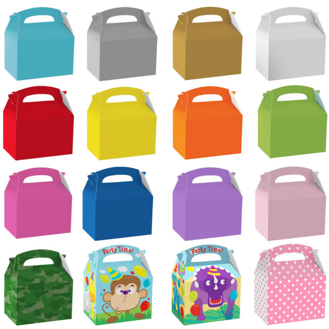 Kids Children's Birthday Plain Coloured Party Supplies Paper Food Favour Boxes