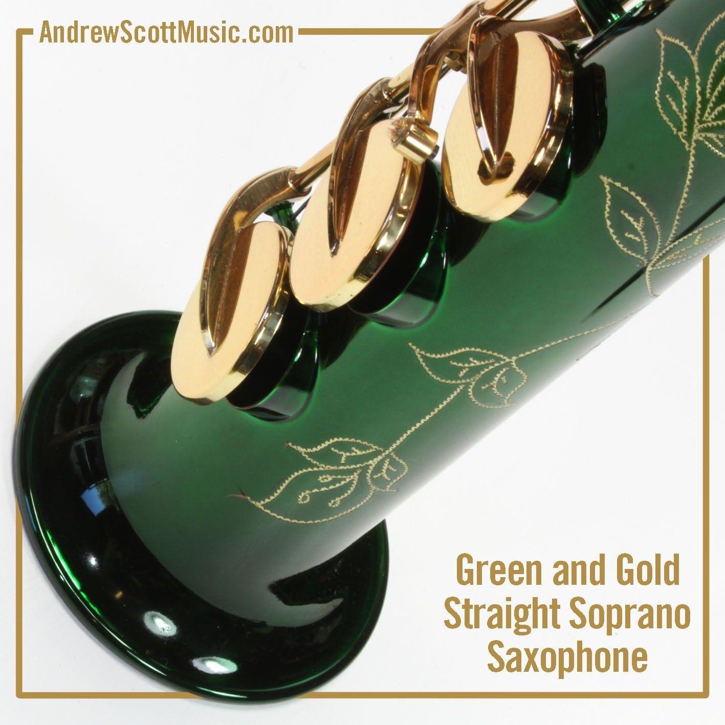 Recto Recto Recto saxofón soprano en caso de-verde con teclas de Color oro-OBRA MAESTRA 2b08dc