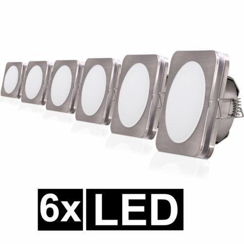 6er Set LED Einbau Strahler Decken Leuchten Flur Spot Wohn Zimmer Lampen eckig