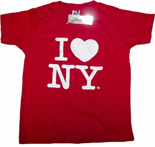 I Love NY Kids Short Sleeve Screen Print Heart T-Shirt Red New York City Girls