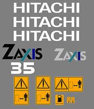HITACHI ZAXIS ZX 35 MINI BAGGER AUFKLEBER SATZ MIT SICHERHEIT-WARNZEICHEN