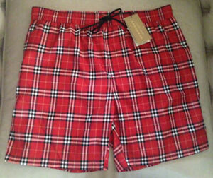 8d2e76da6e New Burberry Men Guildes Check Beach Swim Shorts Trunks Parade Red ...