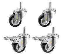 Strobal 10mm X 25mm Threaded 2 Pvc Casters Wheels 4 Pcs 308 Lb Capacity Black