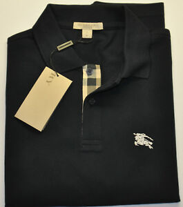 BURBERRY-BRIT-MEN-S-CASUAL-SHIRT-POLO-SHORT-SLEEVE-CHECK-PLACKET-Dark-Navy