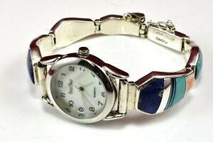 Calvin-Begay-Signed-Vtg-Navajo-Inlaid-Multi-Stone-925-Sterling-Silver-Watch