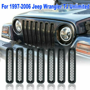 Honeycomb-Mesh-Front-Grill-Inserts-For-1997-2006-Jeep-Wrangler-TJ-Unlimited-7PCS