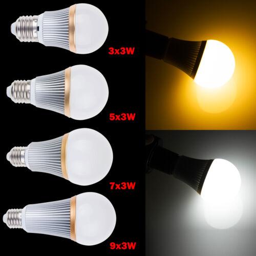 E27 Dimmable 9W 15W 21W 27W LED Globe Ball Spot Lamp Light White Bulb AC100-245V