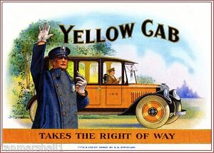1929 Yellow Cab Hertz Smoke Vintage Cigar Tobacco Box Crate Label Art Print Ebay
