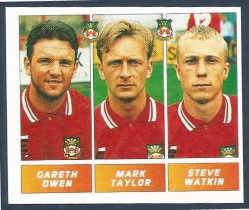 PANINI FOOTBALL LEAGUE 1996 #435-WREXHAM-GARETH OWEN//MARK TAYLOR//STEVE WATKIN