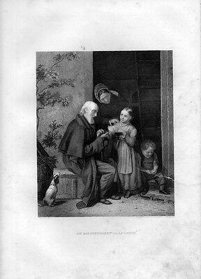 Stampa antica UNA ZUPPA PER IL VIANDANTE 1852 Old Print Engraving