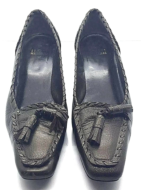 STUART WEITZMAN Pewter Black Comfort Tassels Whip Stitch Loafer shoes 6.5M Spain