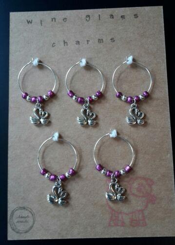 wine glass charm rings Swans set of 5 Purple gift set