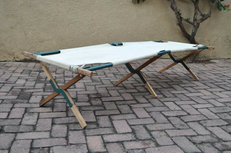 Vintage Foldable Steel Wood Canvas Camping Stretcher/Cot –R750