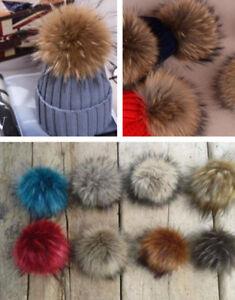 e31df3367cb Faux Fur Pom pom bobble with press stud Handmade Pompom for Hat Mink ...