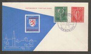 56659-1955-FDC-GERMANY-WESTROPA-STAMP-EXHIBIT-at-DUSSELDORF-SC-B342-43