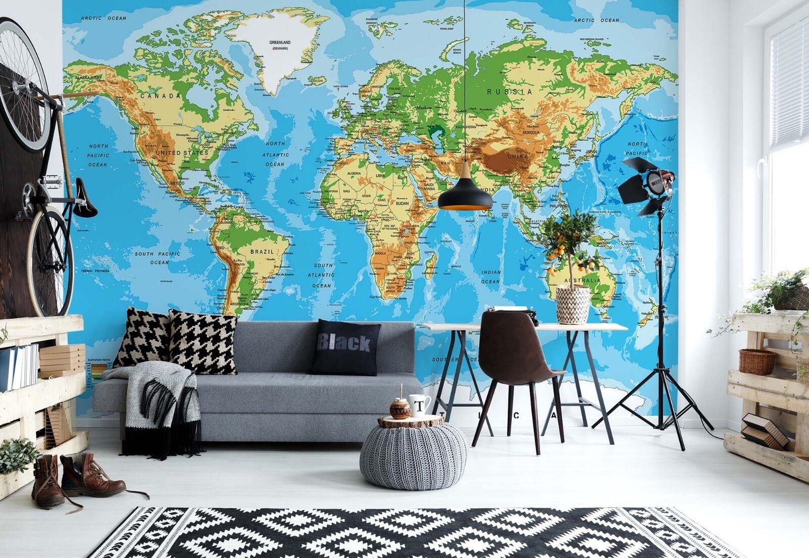 Wandbild Weltkarte Einfach zu Installieren Blau Foto Tapete Schlafzimmer Dekor