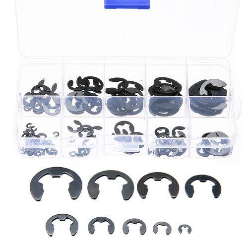 120pcs Nouveau E-Clip & Assortiment Anneau de Retenue Kit 1.5mm à 10mm Circlip