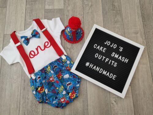 Blue//red Superhero Handmade.Photo Prop Baby Boys 1st Birthday Cake Smash Outfit