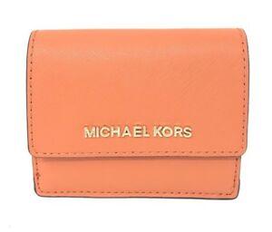 abaf6f45326d Details about Michael Kors Jet Set Leather Tangerine Card Case ID Key  Holder Wallet $118