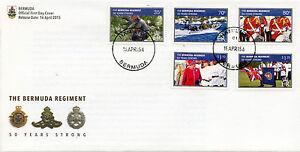 Bermuda 2015 FDC Bermuda Regiment 50 Yrs Strong 5v Set Cover Queen Elizabeth II