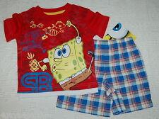 Toddler BOYS Shorts & T Shirt SPONGE BOB Red Blue Plaid 12 Months *