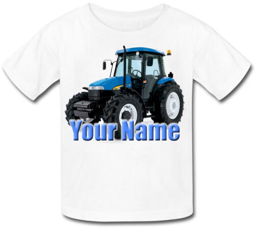 GREAT GIFT FOR ANY CHILD /& NAMED TOO BLUE TRACTOR PERSONALISED KIDS T-SHIRT