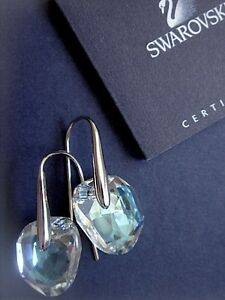 Image Is Loading Swarovski Galet Light Azore Blue Crystal Pierced Earrings