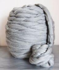 Giant yarn, super chunky 100% merino wool, natural grey, arm knitting 1kg