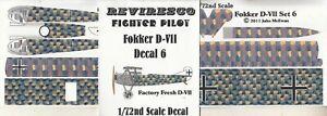Fokker-D-VII-Jaeger-WW-1-Decal-Set-Factory-Fresh-Auslieferungszustand-1-72