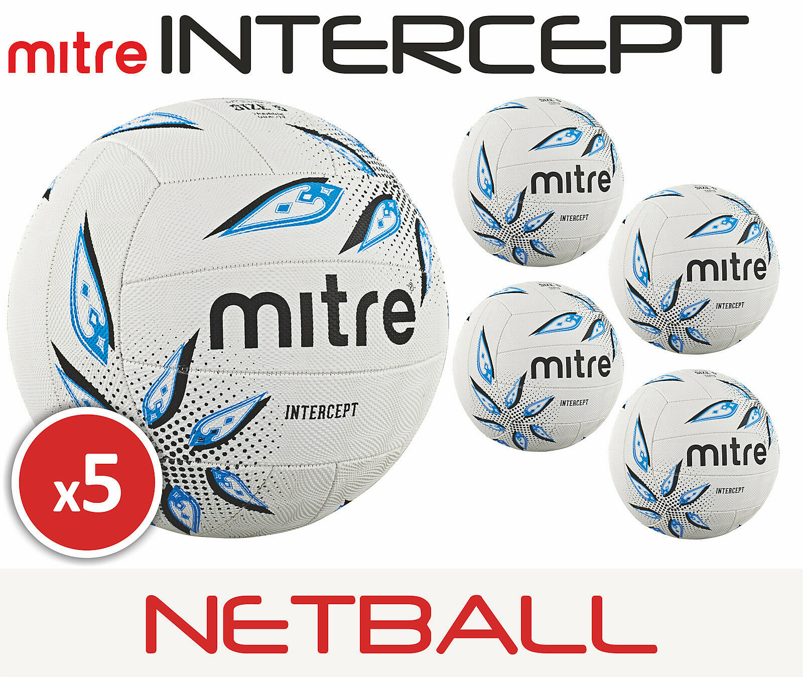 5 x Mitre Intercept Training Netball Sizes 4 5 Brand New