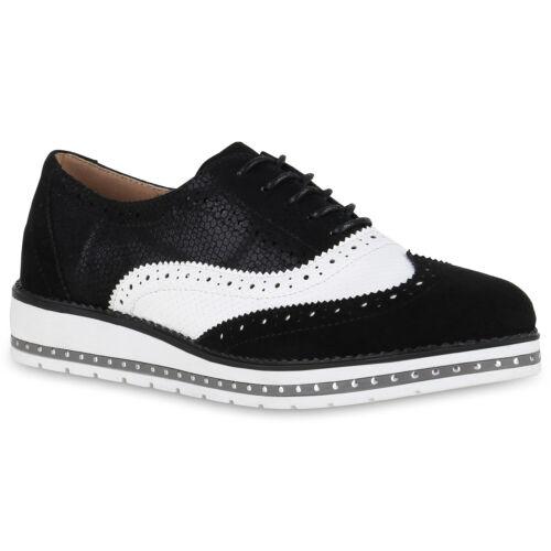 Damen Halbschuhe Lack Glitzer Brogues Dandy Profilsohle 814653 Schuhe