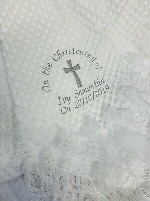 Personalised christening shawl  HEART CROSS any colour embroidery